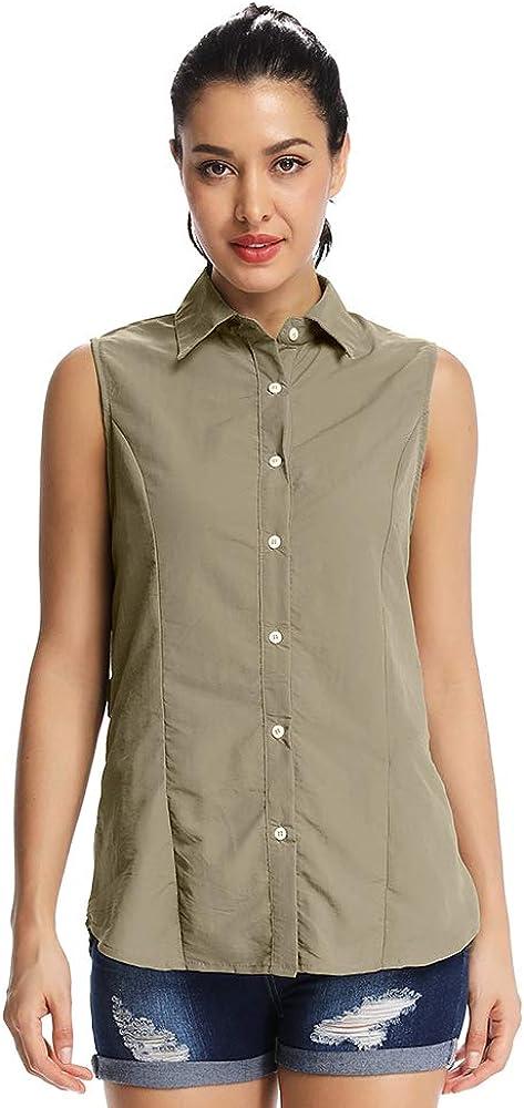 Women's Outdoor UPF 50+ Sun Protection Sleeveless Shirt #XJ5056,Khaki, 2XL