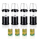 Pictek Camping Lantern, 4 Packs LED Lantern, Portable Super Bright Outdoor Collapsible Camp Lightweight Flashlights with 12 Long Batteries for Camping Hiking, Emergency Events