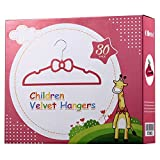 Ollieroo Children Size Flocked Velvet Kids Hangers Super Slim No Slip Non Wrinkle with U Notch Shoulder (30PK Bowknot Shape Pink)