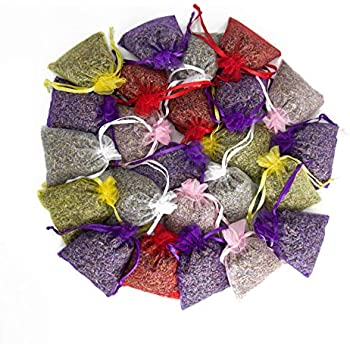 24 Small Mix Color Sachets Craft Bag with Dried French Lavender Flower Buds - Lavender Sachets for Wedding Toss, Home Fragrance Sachets for Drawers and Dressers