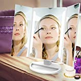 Lighted Vanity Makeup Mirror Tri-Fold with LED Light Bars 180 Degree Free Rotation Table Countertop Cosmetic Bathroom Mirror(White)
