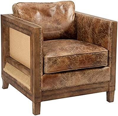 Moeu0027s Home Collection Dartington Leather Club Chair, Light Brown