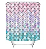 Fish Scale Shower Curtain POPS AMERICA Mildew Resistant White Bath Curtains 60
