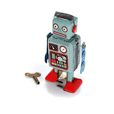 Rrunzfon Clockwork Toy Robot Creative Funny Vintage Mechanical Robot Toys Clockwork Wind Up Toys Walking Radar Robot Tin Toy with Key Blue: Toys & Games
