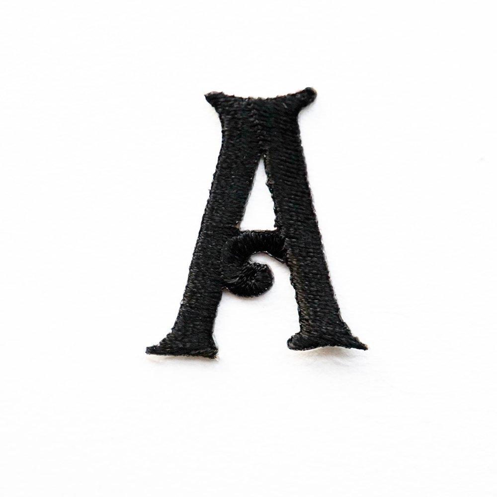 Toppa ricamata a forma di lettera dell'alfabeto, da applicare termicamente su jeans, vestiti, per accessori fai da te, colore nero, A, s Shoulashou