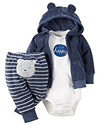 Carter\'s 3 Piece Terry Cardigan Set (Baby) I\'m So Happy Navy 12 Months
