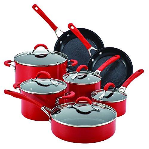 Skillet 10 Inch Circulon (Circulon Innovatum Aluminum 12-Piece Cookware Set, Red)