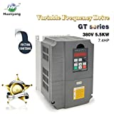 Vector Control CNC VFD Variable Frequency Drive Motor Drive Inverter Converter 380V 5.5KW 7.5HP For Spindle Motor Speed Control HUANYANG GT-Series (380V, 5.5KW)