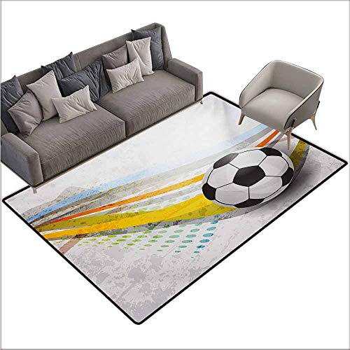 Bath Rug Teen Room Soccer Background with Football Colorful Lines Sports Game with Digital Display Hard and wear Resistant W78 xL118 Multicolor