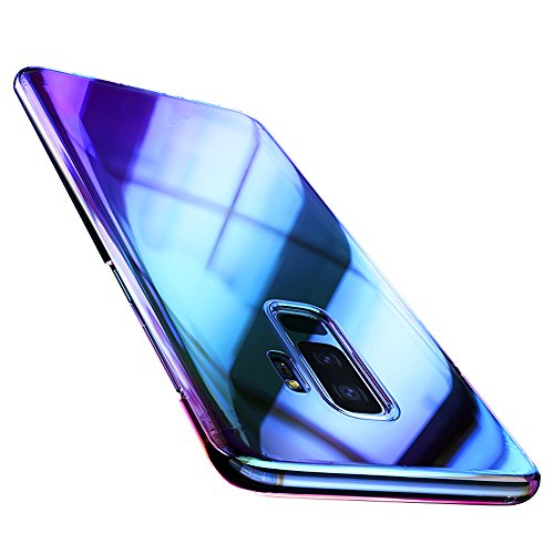 Samsung Galaxy S9 Case, ZHFLY Luxury Ultra Thin Gradient Colorful Transparent Shiny Hard PC Clear Case Glossy Fashion Mirror Protective Back Cover for Samsung Galaxy S9, Blue