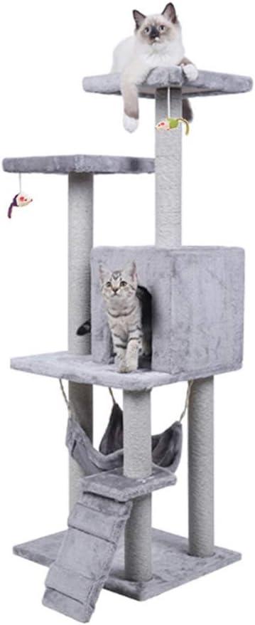 SCHUANG Condo De Gato Árbol De Gato para Gatos Grandes Árboles Grandes Poste De Rascar Torres para Adultos Centro De Actividades De Rascadores De Muebles Palacio De Mascotas Gris Claro 128 Cm: