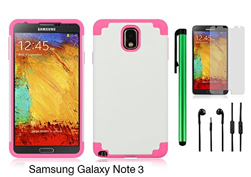 SAMSUNG GALAXY NOTE 3 HYBRID CASE - Premium Pretty Plastic / Rubber Design 2 in 1 Cover Protector Case + 3.5MM Stereo Earphones + Screen Protector Film + 1 of New Metal Stylus Touch Screen Pen (PINK RUBBER SKIN + WHITE PLASTIC)