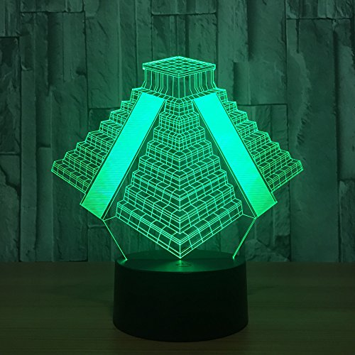 3D Egyptian Pyramids Night Light 7 Color Change LED Table Desk Lamp Acrylic Flat ABS Base USB Charger Home Decoration Toy Brithday Xmas Kid Children Gift (Cable Fixture Pyramid)