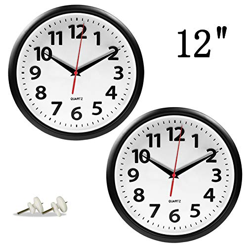 Giftgarden 2 Pack 12-inch Wall Clock Black Silent Non-Ticking Quartz Analog Round Clocks for Kitchen Living Room Bedroom Office Home Wall Decor from Giftgarden