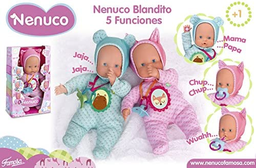 Nenuco Muñeca Blandito 5 funciones con ropita rosa (Famosa 700014120)