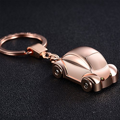 Jobon mini Beetle Car Stylish Keychain with SOS Flashlight made of Stainless Electroplated Alloy same cute with Pokemon (Gold Electroplated Mens Ring)