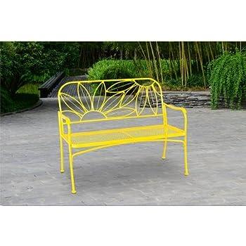 Amazon.com : Red Metal Garden Bench : Outdoor Benches