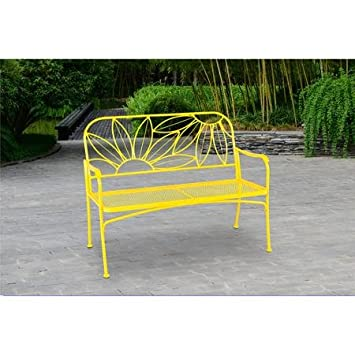 Superb Bright Yellow Metal Floral Outdoor Patio Bench | This Decorative Steel  Frame Outdoor Seat Is Ideal