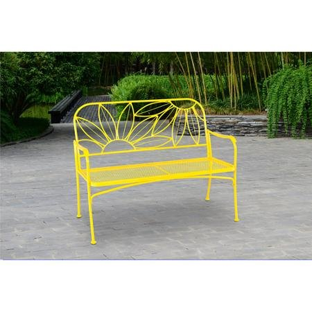 Mainstays*` Hello Sunny Outdoor Patio Bench, with Armrests, Rounded Corners and a Sturdy Frame, Enhances The Backrest That Greets You,Your Family and Guest (Yellow) (Corner Bench Patio)