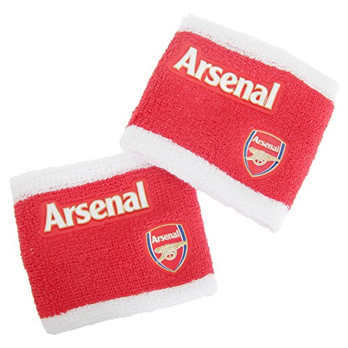 Arsenal FC Official 2 Tone Athletic Football Crest Sport Wristbands (Pack Of 2) (One Size) (Red/White)