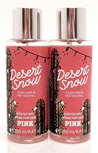 LOT OF 2 Victoria Secret Pink Collection Desert Snow 8.4 Ounce Body Mist Wildflower and Fresh Snowfall