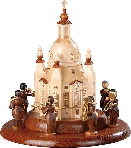 Müller Motif Platform for Electronic Music Boxes, Brass Player Ensemble Ludwig Güttler on The Frauenkirche, Original Erzgebirge by Mueller Seiffen