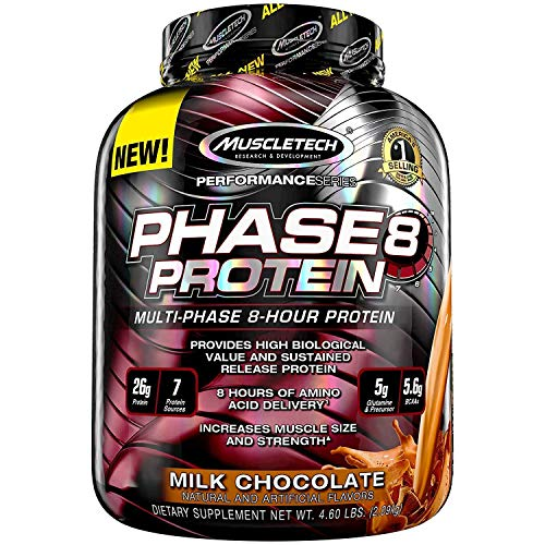 Block 5 Lb Chocolate - MuscleTech Phase8 Whey Protein Powder Blend, Sustained Release 8-Hour Protein Shake, Milk Chocolate, 50 Servings (4.6lbs)