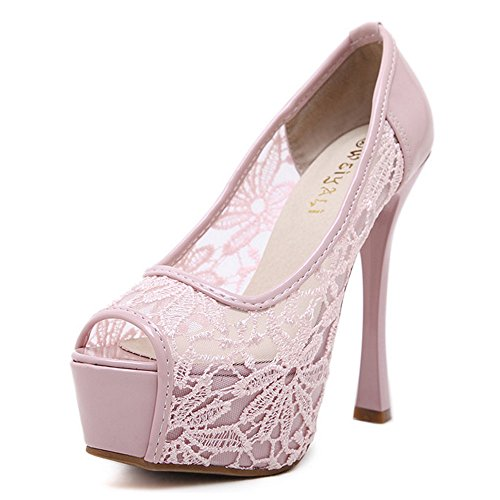 COOLCEPT Mujer Moda Sin Cordones Sandalias Peep Toe Tacon de Aguja Zapatos Rosado