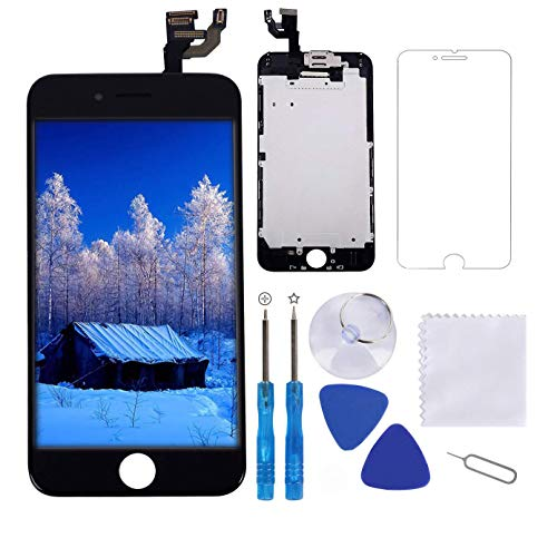 for iPhone 6 Screen Replacement Black 4.7 LCD Display Touch Digitizer Frame Assembly Full Repair Kit, with Proximity Sensor, Earpiece Speaker, Front Camera, Free Screen Protector, Repair Tools