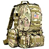 CVLIFE Tactical Military Backpack 60L Built-up Army Rucksacks Outdoor 3 Day Assault Pack Combat Molle Backpack for Hunting Hiking Fishing with Flag Patch Multicam CP