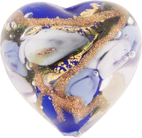 Cobalt and Blue with Aventurina and 24kt Gold Foil Bed of Roses 16mm Heart Murano Glass Bead Handmade Lampwork ()
