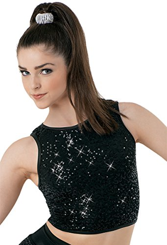 Balera Dance Racerback Crop Top Sequin Spandex Tank Black Adult Medium (Adult Crop Top)