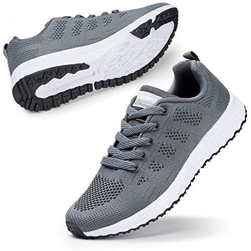 STQ Women Sneakers Lightweight Breathable Sports Shoes Walking Shoes Grey 5.5