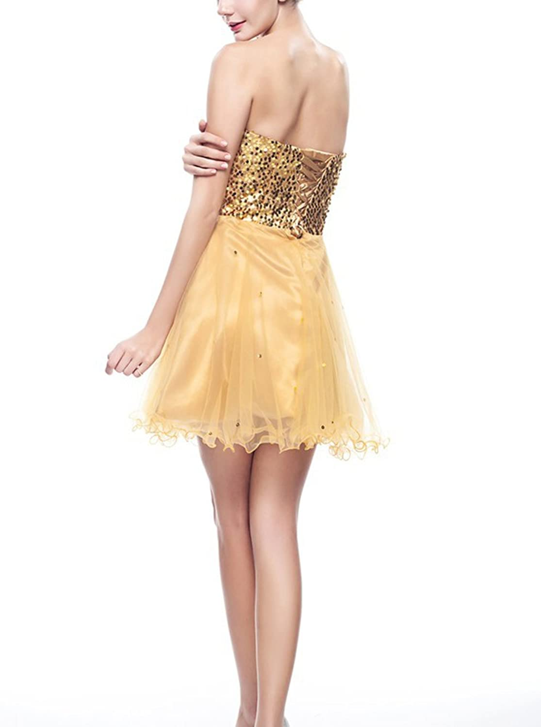 Dobelove Women's Sequines Tulle Sweetheart A-line Mini Party Dresses