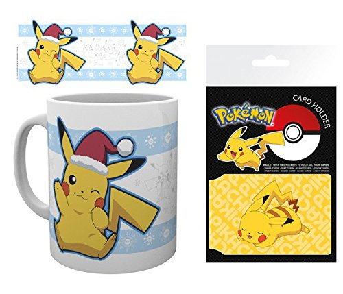 Set: Pokemon, Pikachu Santa Claus Photo Coffee Mug (4x3 inches) and 1 Pokemon, Credit Card Holder Wallet for Fans Collectible (4x3 inches) -