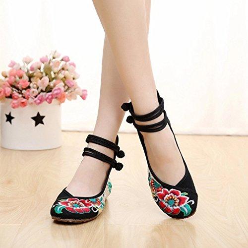 Floraux Eagsouni® Chaussures Compensées Toile En Wind Noir Femme Chinoises National Brodées wrrRxE6