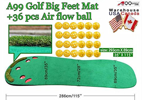 Indoor premium Grassroots Putting Green Golf practice mat Big Feet 3′ x 9 1/2′ + Free 36pcs air flow balls