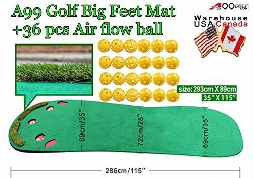 Indoor premium Grassroots Putting Green Golf practice mat Big Feet 3′ x 9 1/2′ + Free 36pcs air flow balls