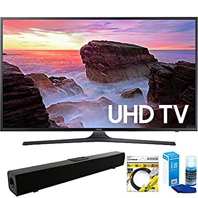 """Samsung (UN40MU6300FXZA) 40"""" 4K Ultra HD Smart LED TV (2017 Model) With Wi-Fi with Solo X3 Bluetooth Home Theater Sound Bar + 6ft HDMI Cable + Universal Screen Cleaner for LED TVs"""