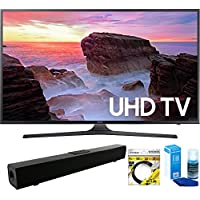 Samsung (UN65MU6300FXZA) 65 4K HDR Ultra HD Smart LED TV (2017 Model) with Solo X3 Bluetooth Home Theater Sound Bar + 6ft HDMI Cable + Universal Screen Cleaner for LED TVs