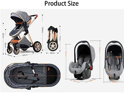 51Ojs425G8L. AC - TXTC 3 In 1 Stroller Carriage With Oversized Canopy/Easy One-Hand Fold,Foldable Luxury Baby Stroller Anti-Shock Springs High View Pram Baby Stroller With Baby Basket (Color : Khaki)