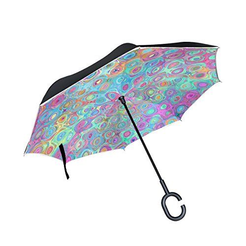 QYUESHANG Double Layer Inverted Texture Pattern Color Structure Umbrellas Reverse Folding Umbrella Windproof Uv Protection Big Straight Umbrella For Car Rain Outdoor With C-shaped Handle