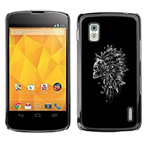 GOODTHINGS Funda Imagen Diseño Carcasa Tapa Trasera Negro Cover Skin Case para LG Google Nexus 4 E960 - Tocado de plumas indio cráneo negro