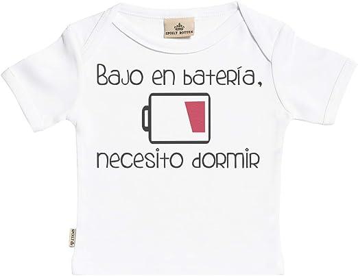 SR - Estuche de presentación - Bajo en batería, Necesito Dormir Camisetas para niño - Camisetas para niña - Conjunto Regalo del bebé - 5-6 años Blanco: Amazon.es: Ropa y accesorios