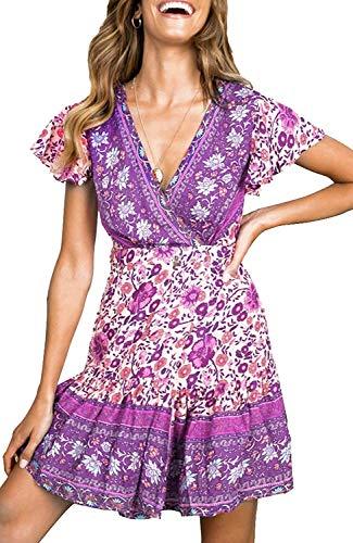 (TECREW Women's Summer Wrap V Neck Floral Print Beach Dress Buttons Swing Mini Dress)