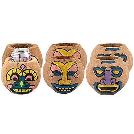 Amazon.com: Paquete de 6 de Tiki puede – Soportes de coco ...