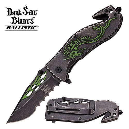 New DARK SIDE GREEN DRAGON FANTASY Rescue Spring ASSIST Pocket Eco'Gift LIMITED EDITION Knife with Sharp -