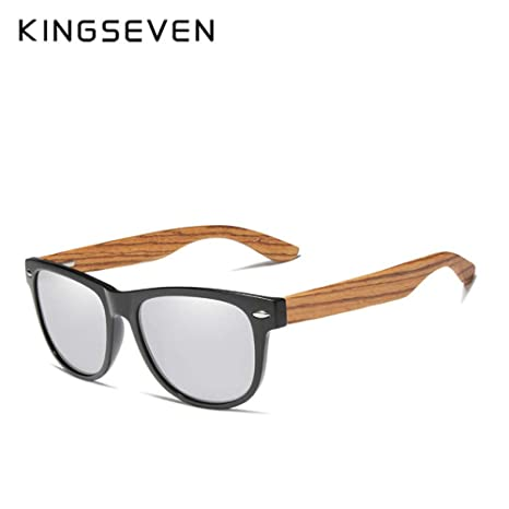 Yangjing-hl Gafas de Sol cuadradas polarizadas de Madera de ...