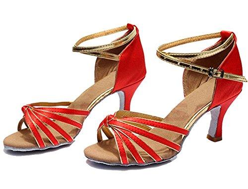 Tanzschuhe Absatz Schuhe Pumps Tanzschuhe Rot Einfarbig Tango Rumba mit Stierkampf 5cm Gold Damen Samba Absatz Minetom Cowboy Satin Riemen Ballsaal Latein Tanzschuhe 8w77fq