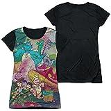 Dragon Tales Mushroom Meadow Juniors Black Back T-Shirt S White